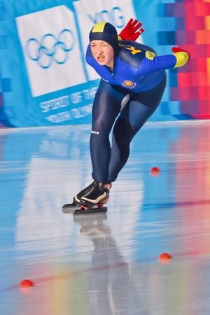 innbruck: INNSBRUCK, AUSTRIA - JANUARY 18 Yelizaveta Prokhorenko (Kazachstan) places 11th in the ladies 3000m speed skating event on January 18, 2012 in Innsbruck, Austria.