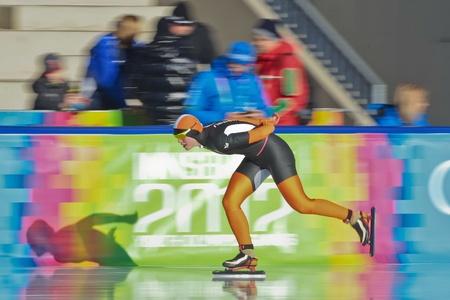INNSBRUCK, AUSTRIA - JANUARY 18 Sanneke de Neeling (Netherlands) wins the ladies 3000m speed skating event on January 18, 2012 in Innsbruck, Austria.