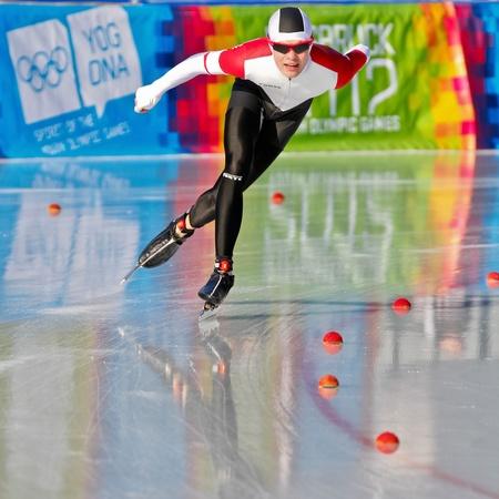 innbruck: INNSBRUCK, AUSTRIA - JANUARY 18 Philip Due Schmidt (Denmark) places 14th in the mens 3000m speed skating event on January 18, 2012 in Innsbruck, Austria.