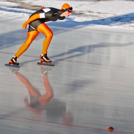 innbruck: INNSBRUCK, AUSTRIA - JANUARY 18 Bastijn Boele (Netherlands) places 8th in the mens 3000m speed skating event on January 18, 2012 in Innsbruck, Austria.