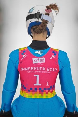 innbruck: SEEFELD, AUSTRIA - JANUARY 19 Anastasia Veschikova (Russia) prepares to go down the ski jump in Seefeld during a training session on January 19, 2012 in Seefeld, Austria.