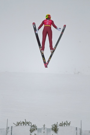 SEEFELD, AUSTRIA - JANUARY 19 Emilee Anderson (USA)  jumps in Seefeld during a training session on January 19, 2012 in Seefeld, Austria.