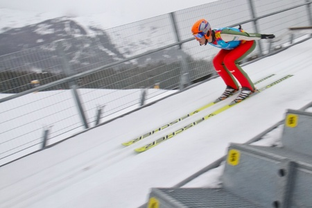 SEEFELD, AUSTRIA - JANUARY 19 Test jumper V5 jumps in Seefeld during a training session on January 19, 2012 in Seefeld, Austria.