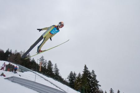 yog: SEEFELD, AUSTRIA - JANUARY 19 Test jumper V4 jumps in Seefeld during a training session on January 19, 2012 in Seefeld, Austria.