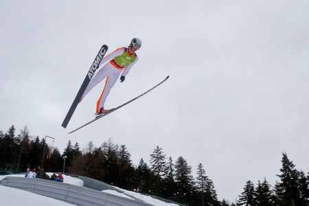 SEEFELD, AUSTRIA - JANUARY 19 Colton Kissel (USA) jumps in Seefeld during a training session on January 19, 2012 in Seefeld, Austria.