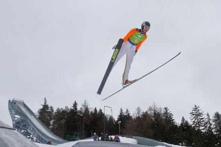 SEEFELD, AUSTRIA - JANUARY 19 Raffaele Buzzi (Italy) jumps in Seefeld during a training session on January 19, 2012 in Seefeld, Austria. Stock Photo - 12160120