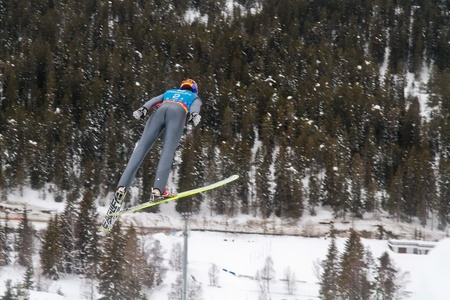 yog: SEEFELD, AUSTRIA - JANUARY 19 William Rhoads (USA) jumps in Seefeld during a training session on January 19, 2012 in Seefeld, Austria.