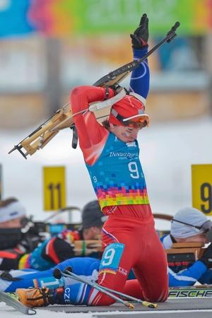 SEEFELD, AUSTRIA - JANUARY 19 Ondrej Hosek of team Czech Republic places 7th in the mixed biathlon relay event on January 19, 2012 in Seefeld, Austria.