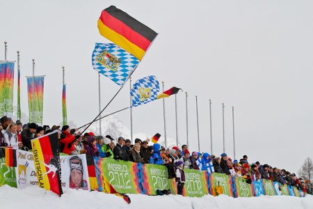 SEEFELD, AUSTRIA - JANUARY 19 German fans at the mixed biathlon relay event on January 19, 2012 in Seefeld, Austria.