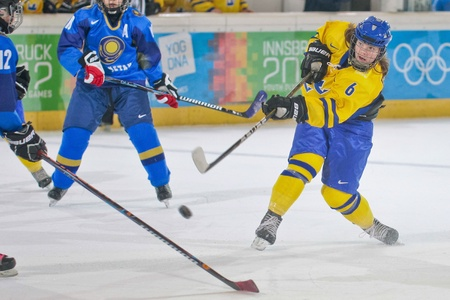 INNSBRUCK, AUSTRIA - JANUARY 20 Lina Backlin (Sweden) and her team beat Kazachstan 11:0 in the ladies ice hockey tournament on January 20, 2012 in Innsbruck, Austria.