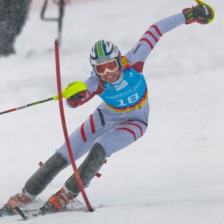 graf: PATSCHERKOFEL, AUSTRIA - JANUARY 21 Mathias Elmar Graf (Austria) places third in the mens slalom on January 21, 2012 in Patscherkofel, Austria.