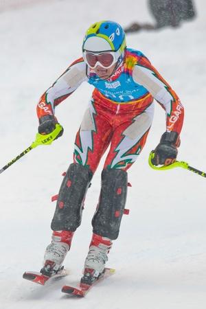 PATSCHERKOFEL, AUSTRIA - JANUARY 21 Georgi Nushev (Bulgaria) places 16th in the men's slalom on January 21, 2012 in Patscherkofel, Austria. Stock Photo - 12160125