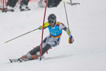 PATSCHERKOFEL, AUSTRIA - JANUARY 21 Joan Verdu Sanchez (Andorra) places 8th in the men's slalom on January 21, 2012 in Patscherkofel, Austria. Stock Photo - 12159743