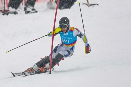 innbruck: PATSCHERKOFEL, AUSTRIA - JANUARY 21 Joan Verdu Sanchez (Andorra) places 8th in the mens slalom on January 21, 2012 in Patscherkofel, Austria.