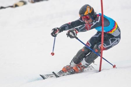 PATSCHERKOFEL, AUSTRIA - JANUARY 21 Miks Edgars Zvejnieks (Latvia) places 13th in the men's slalom on January 21, 2012 in Patscherkofel, Austria. Stock Photo - 12159756