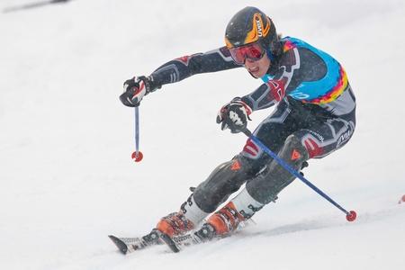 yog: PATSCHERKOFEL, AUSTRIA - JANUARY 21 Miks Edgars Zvejnieks (Latvia) places 13th in the mens slalom on January 21, 2012 in Patscherkofel, Austria.