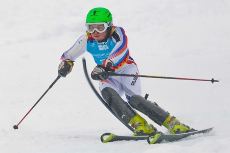 yog: PATSCHERKOFEL, AUSTRIA - JANUARY 21 Artem Pak (Russia) places 20th in the mens slalom on January 21, 2012 in Patscherkofel, Austria.