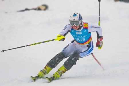 PATSCHERKOFEL, AUSTRIA - JANUARY 21 Strahinja Stanisic (Serbia) competes in the men's slalom on January 21, 2012 in Patscherkofel, Austria. Stock Photo - 12160231