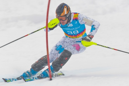 PATSCHERKOFEL, AUSTRIA - JANUARY 21 Manuel Hug (Liechtenstein) places 22th in the men's slalom on January 21, 2012 in Patscherkofel, Austria. Stock Photo - 12159717