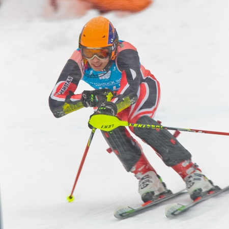 PATSCHERKOFEL, AUSTRIA - JANUARY 21 Ruslan Sabitov (Kazachstan) competes in the men's slalom on January 21, 2012 in Patscherkofel, Austria. Stock Photo - 12159718
