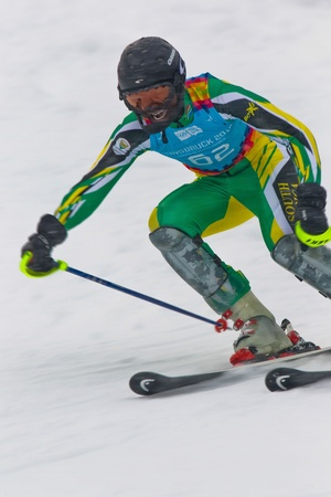 PATSCHERKOFEL, AUSTRIA - JANUARY 21 Sive Speelman (South Africa) competes in the men's slalom on January 21, 2012 in Patscherkofel, Austria. Stock Photo - 12159760