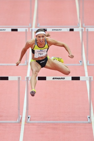 LINZ, AUSTRIA - FEBRUARY 2 Lolo Jones (USA) wins the womens 60m hurdles event on February 2, 2012 in Linz, Austria.