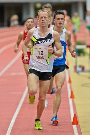 LINZ, AUSTRIA - FEBRUARY 2 Mitja Krevs (Slovenia) places third in the men's 3000m event on February 2, 2012 in Linz, Austria. Stock Photo - 13160806