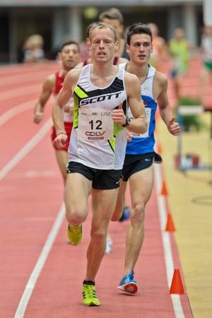 LINZ, AUSTRIA - FEBRUARY 2 Mitja Krevs (Slovenia) places third in the mens 3000m event on February 2, 2012 in Linz, Austria.