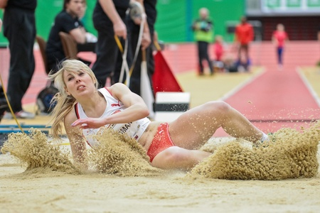 linz: LINZ, AUSTRIA - FEBRUARY 2 Amy Woodman (Great Britain) places 5th in the womens long jump event on February 2, 2012 in Linz, Austria. Editorial