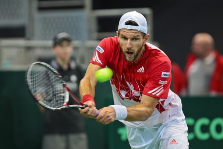 WIENER NEUSTADT, AUSTRIA - FEBRUARY 10 Juergen Melzer (Austria) beats Igor Kunizin (Russia) in a five set match during the Davis Cup event on February 10, 2012 in Wiener Neustadt, Austria.