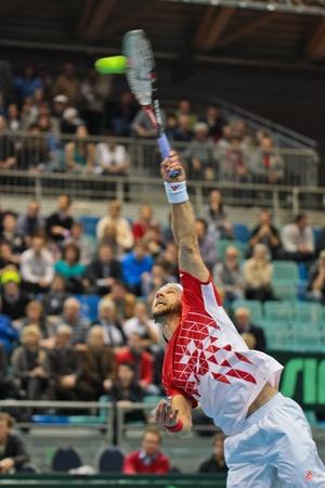melzer: WIENER NEUSTADT, AUSTRIA - FEBRUARY 10 Juergen Melzer (Austria) beats Igor Kunizin (Russia) in a five set match during the Davis Cup event on February 10, 2012 in Wiener Neustadt, Austria.