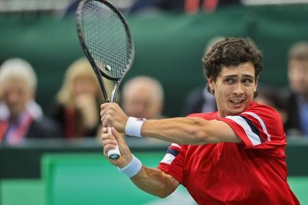 melzer: WIENER NEUSTADT, AUSTRIA - FEBRUARY 10 Igor Kunizin (Russia) loses to Juergen Melzer (Austria) in a five set match during the Davis Cup event on February 10, 2012 in Wiener Neustadt, Austria.