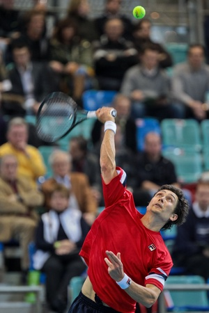 WIENER NEUSTADT, AUSTRIA - FEBRUARY 10 Igor Kunizin (Russia) loses to Juergen Melzer (Austria) in a five set match during the Davis Cup event on February 10, 2012 in Wiener Neustadt, Austria. Stock Photo - 13160808