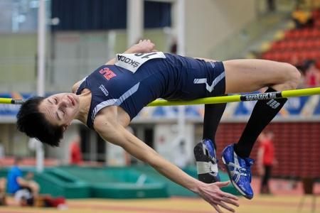 LINZ, AUSTRIA - FEBRUARY 25: Monika Gollner (#189) wins the women's high jump event in Linz, Austria on February 25, 2012. Stock Photo - 13160842