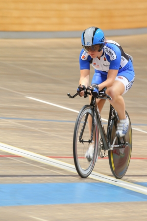 keirin: VIENNA,  AUSTRIA - SEPTEMBER 27  Evelin Idarand (Estonia) competes in the womens individual pursuit event of an indoor cycling meeting on September 27, 2012 in Vienna, Austria.