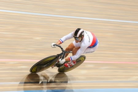 keirin: VIENNA,  AUSTRIA - SEPTEMBER 27  Lubomir Vojta (Czech Republic) competes in the mens team sprint event of an indoor cycling meeting on September 27, 2012 in Vienna, Austria.