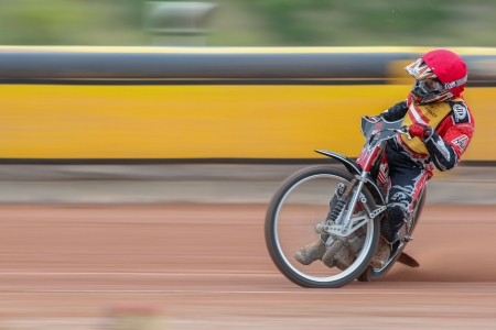 EGGENDORF, AUSTRIA - OCTOBER  7 Johannes Fiala (#1 Austria) competes in the 1st heat of the Austrian speedway championship on October 7, 2012 in Eggendorf, Austria. Stock Photo - 16745601