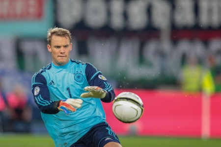 VIENNA,  AUSTRIA - SEPTEMBER 11 Manuel Neuer (#1 Germany) catches the ball during the WC qualifier soccer game on September 11, 2012 in Vienna, Austria.