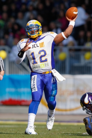 VIENNA, AUSTRIA - MARCH 25 QB Chris Gunn (#12 Giants) passes the ball on March 25, 2012 in Vienna, Austria.