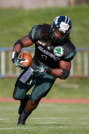 VIENNA, AUSTRIA - APRIL 29 RB Tunde Ogun (#1 Dragons) runs with the ball on April 29, 2012 in Vienna, Austria.