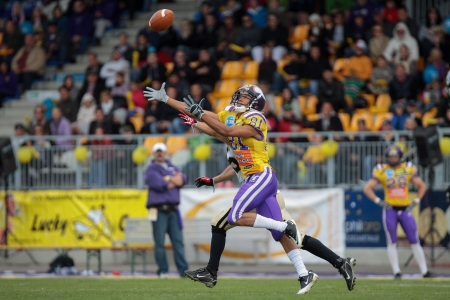 81: VIENNA, AUSTRIA - MAY 13 WR Laurinho Walch (#81 Vikings) catches the ball on May 13, 2012 in Vienna, Austria.