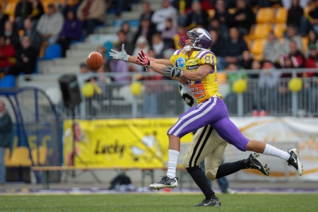 81: VIENNA, AUSTRIA - MAY 13 WR Laurinho Walch (#81 Vikings) misses the ball on May 13, 2012 in Vienna, Austria.