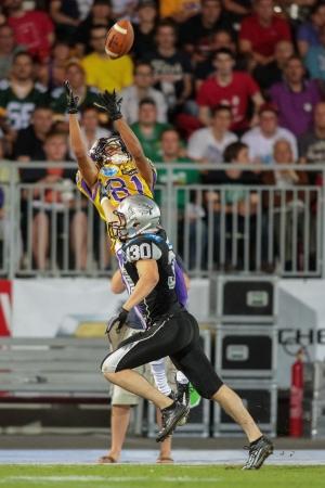 81: VIENNA, AUSTRIA - JULY 28 WR Laurinho Walch (#81 Vikings) catches the ball on July 28, 2012 in Vienna, Austria.