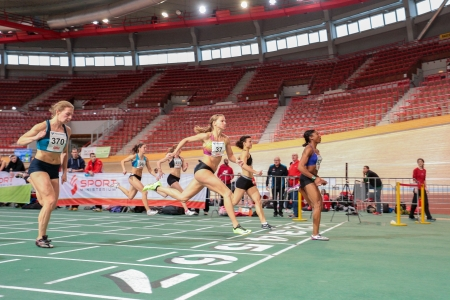 lawson: VIENNA, AUSTRIA - JANUARY 29 Lekeisha Lawson (#534 USA) wins the womens 60m event on January 29, 2013 in Vienna, Austria.