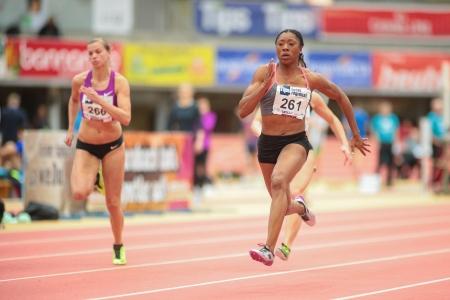 lawson: LINZ, AUSTRIA - JANUARY 31 Lekeisha Lawson (#261 USA) wins the womens 60m event on January 31, 2013 in Linz, Austria.