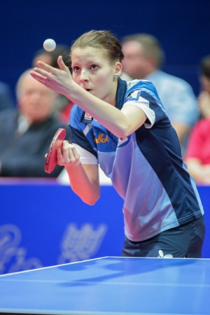 SCHWECHAT, AUSTRIA - FEBRUARY 8 Nikole Galitschitsch (SVS Stroeck), loses the fifth game in the ETTU semifinals on February 8, 2013 in Schwechat, Austria.