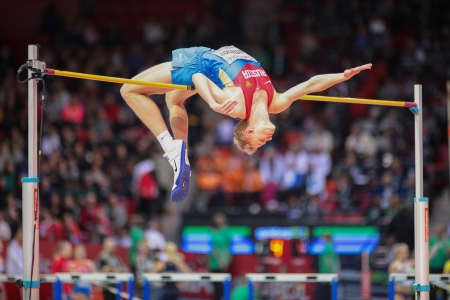 GOTHENBURG, SWEDEN - MARCH 1 Dimitry Semenov (Russia) competes in the qualification of the mens high jump event during the European Athletics Indoor Championship on March 1, 2013 in Gothenburg, Sweden.