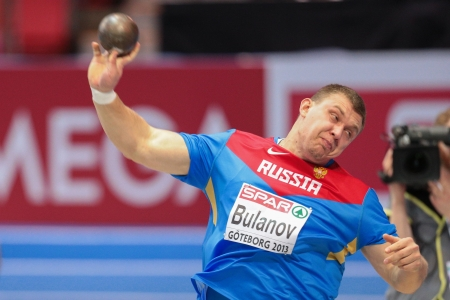 GOTHENBURG, SWEDEN - MARCH 1 Aleksandr Bulanov (Russia) places 6th in the mens shot put final during the European Athletics Indoor Championship on March 1, 2013 in Gothenburg, Sweden.