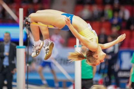 competes: GOTHENBURG, SWEDEN - MARCH 2 My Nordstroem (Sweden) competes in the qualification of the womens high jump event during the European Athletics Indoor Championship on March 2, 2013 in Gothenburg, Sweden. Editorial
