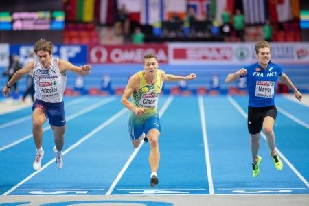 pentathlon: GOTHENBURG, SWEDEN - MARCH 2 Petter Olson (Sweden) places 2nd in the mens 60m pentathlon event during the European Athletics Indoor Championship on March 2, 2013 in Gothenburg, Sweden. Editorial